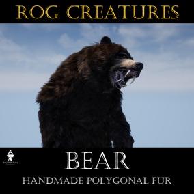Aggressive and terrifying huge bear with handmade polygonal fur