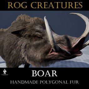 Strong and aggressive wild boar with polygonal fur