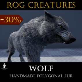 A wolf that looks a bit like a husky, but still is a wolf with polygonal fur :)