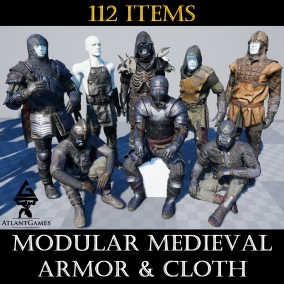 112 items of modular armor & cloth (slots: head, chest, legs, feet) for low fantasy magical medieval.