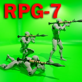 RPG-7 Grenade Launcher That includes Character animations for the stand, crouch, prone. The project is ready to be used for the shooter game.