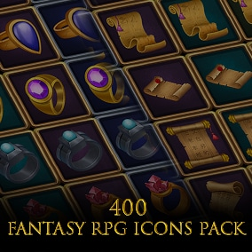 Set of 400 hand painted skill and inventory or other icons.