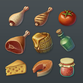 A set of high quality food icons for fantasy RPG game.