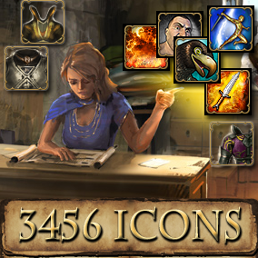 3456 fantasy Icons for achievements, amulets, belts, character icons, helmets, enemies, food, keys, potions, provisions, quest items, rings, weapons, and skills.