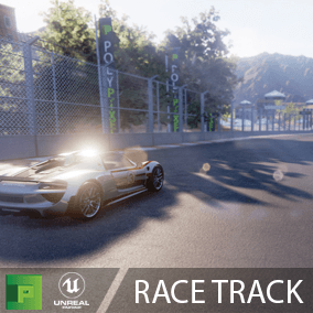 Rack Course Pack comes with a customizable, fully rigged sports car and a fully realized track with modular track pieces, background props, and a stylish desert environment.