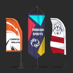 Game Ready, High-Quality Low Poly Models of Racing Flags Mega Bundle.