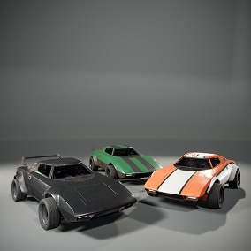 Driveable Off Road Cars. 3 Skeletal Meshes. 3 Skins (clean+dirty). A lot of variations. Realistic complex suspension. 4K Textures. Ready to use as a Pawn.