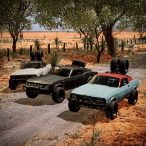 Driveable Off Road Cars. 2 Skeletal Meshes. 3 Skins (clean+dirty). A lot of variations. Realistic complex suspension. 4K Textures. Ready to use as a Pawn.