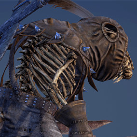Low polygonal game ready animated model of Ratkin Rogue with his skeleton.