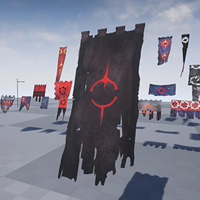 A set of 18 different types of customizable flags and banners that react to the wind with 3 damage states each. (Pristine / Old / damaged)
