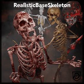 The Realistic Base Skeleton can be used as an animated character or as a simple environmental prop. Different textures allow for custom variations: old, swamp, burnt, fleshy, fresh and medical- Skeleton.