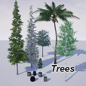Photorealistic Trees. 5 Species, each with 3 procedural variations plus 5 unique indoor pots. Ideal for ArchViz as well as games.
