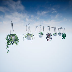 Realistic hanging plants for decoration in archviz. Pack of 7 plants modeled and textured