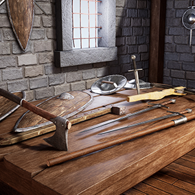 A perfect starter kit of Realistic Medieval Weapons. Created with PBR textures. This pack is perfect for any first or third person game.