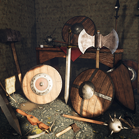 This pack contains 17 AAA quality models of medieval weapons and shields with 4k PBR textures.