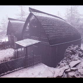 Realistic Viking Village with dynamic snow materials and high quality assets