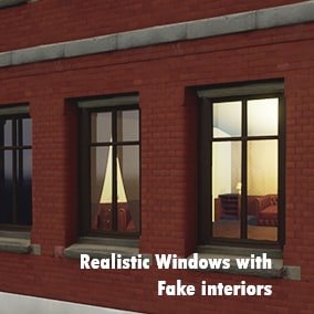 Custom material for high-performance windows with fake interiors