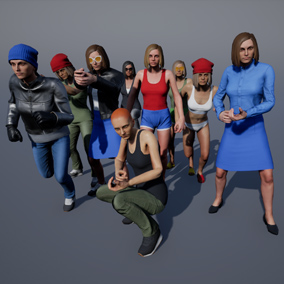 Regular Female Civilian customizable character set, with countless amounts of variations.