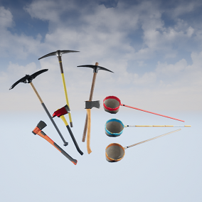 9 quality gathering tools: 3 Axes, 3 Bug nets, and 3 Pickaxes