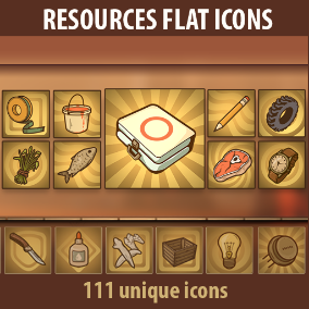 A set of 111 hand drawn Resources flat icons.