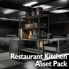 Comprehensive restaurant kitchen asset pack to create realistic depictions of restaurant kitchens