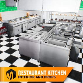 Good product for your games, VR projects, and simulators - the asset pack Restaurant kitchen - interior and props