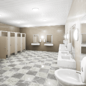 HQ Public Restroom (toilet) props for PC, Mobile, and VR games