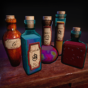 Eleven hollow bottles, with customizable glass and liquid color materials. Create all manner pots or potions of health, magic, pulchritude, strength, or skill. Includes free table and table top shelfs!