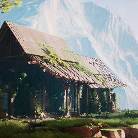 A collection of high fidelity, abandoned, broken wood and brick buildings, rocks and foliage. Can be used to create ruined, run-down structures with vibrant vegetation.