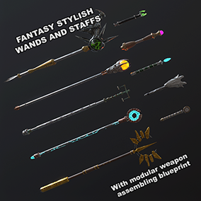 Including 5 Staffs, 5 Wands and Modular mesh(648 possibility weapon) assembling blueprint that come with Hiqh Quality textur