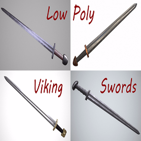 Amazing set of 5 low-poly realistic viking swords, which include PBR textures 2048x1024  resolution. Fully detailed, perfect for close-ups.