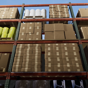 A set of props used for filling your warehouse. A modular warehouse rack systems with plywood or wire shelving. Includes a construction script to stack boxes, pails, etc. to aid in filling pallets.