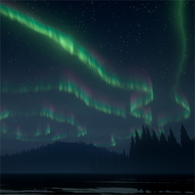Light up the night sky with beautiful, animated northern lights.