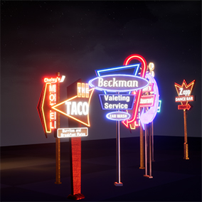 11 Retro-Style Googie / Diner Sign Meshes, over 40 Emissive Material Variations.