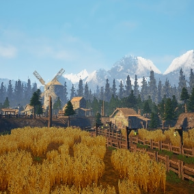 A large collection of medieval and foliage assets that include pixelated textures and properly UV'd Low Poly meshes to make beautiful Old-School style medieval scenes.