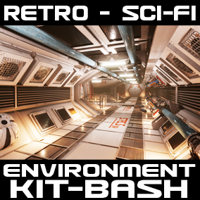 Retro Styled Sci-fi Interior Kit bash with a theme of late 80`s vision of the 22nd Century.  Ideal for spaceships, space stations and bases, the modular pieces have a used and worn look and feel.