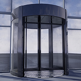 A set of six fully animated revolving doors