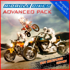Advanced rideable motorcycle system including motorcycles improved physics, damage and deformation, drift sound and marks, get on/off bike animations, surface detection and much more!