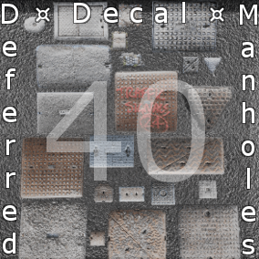 40 different Deferred Decal Manhole Materials with 2K/4K PBR textures