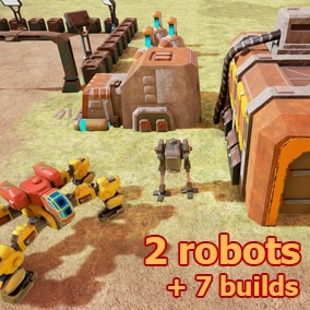 2 robots, 7 builds, ground, skeleton + animations