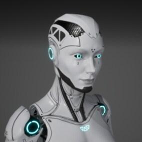 Game-Ready Low-Poly Modular Robot Girl