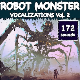 A robot monster vocalization sound library with 172 high-quality sound effects, ready for use in the video game and trailer.