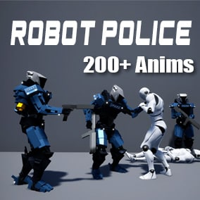 Collection of Robot Police animations that uses pistol and assault rifle.
