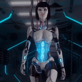 The low poly character Robot girl LUCY , which is great for your game, has 21 animations. Robot using Epic skeleton.