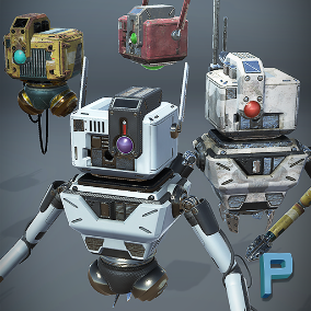 Customizable robots ready to re-target to Unreal Skeleton
