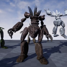 The Rock Monster is a full featured character with Animations, multiple textures, Sound Effects & Music.