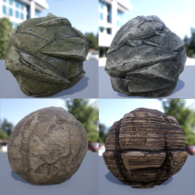 The package consists of 8 different kinds of rocks. Materials have a Texture map (Base Color, Normal, Roughness, Height, and Ambient Occlusion).