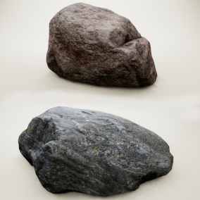 10 unique high quality low poly 4K PBR Photoscanned Stones with 4 LODs