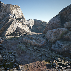 Variations of rough and smooth rocks and boulders with procedural moss function.