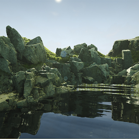 Rocks of Ireland Vol. 1 - 3D Scanned Rock Meshes, Grass Meshes, Custom Wind Shader, Mesh Blending Function, Landscape Material, and Bonus Props.